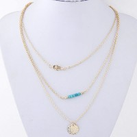 Cinderella Collection By Shining Diva Blue & Golden Multilayer Dainty Alloy Necklace