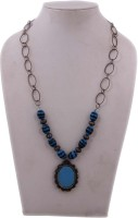 Indian Charm Blue & Black Beads Glass, Metal Necklace