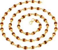 The Jewelbox Rudraksh Mala 27.5 Inch Yellow Yellow Gold Alloy Chain