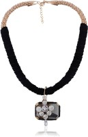 Cinderella Collection By Shining Diva Black & Gold Crystal Neckpiece Alloy Necklace