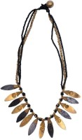 The Palace Orissa Tribal Black And Gold Finish Center Leaf Brass Necklace