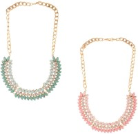 Aaishwarya Multicolour Petal Bib Alloy Necklace Set