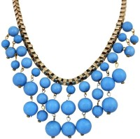 Crunchy Fashion Blue Bauble Statement Alloy Necklace
