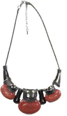 SSMITN Statement Necklace In Silver Colour And Pink Stones Alloy Necklace