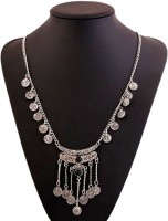 Sansar India Bohemia Gypsy Vintage Long Chain Coin Tassel Silver Plated Alloy Necklace