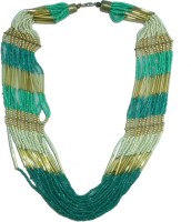 The Fine World Radiant Turquoise Chunky Neck Piece With Touch Of Golden Colors Metal Necklace