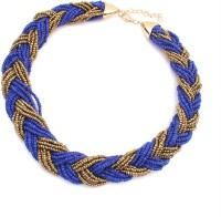 Aaishwarya Blue And Golden Beads Braided Alloy Necklace