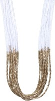 Crunchy Fashion White & Golden Beads Multifunction Alloy Necklace