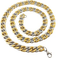 Ammvi Creations 23.5'' Cuban Links Two-Tone Luxury Thick & Broad For Men Stainless Steel Chain