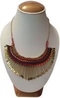 Ada Fashion Art Beautiful Brass Plated Metal Necklace