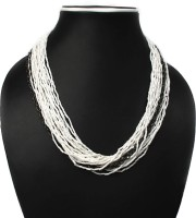 Joyeria Milan Black And White Beaded Resin Necklace