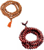 11Girls 100% Original Nepal Rudraksha Mala With 108 Beads In 6 Mm Size With Lal Chandan Mala Combo Of 2 Wood Necklace Set