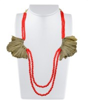 Karmic Kabira By Vandana Dewan Flourescent Orange Beads & Thread Tassel Brass Necklace