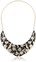 Cinderella Collection By Shining Diva Contemporary Black & Golden Statement Alloy Necklace
