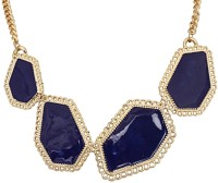 Crunchy Fashion Blue Blocks Statement Alloy Necklace