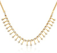 Mahi Enigmatic Rendition Crystal 24K Yellow Gold Alloy, Brass Necklace