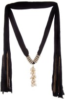 Trinketbag Black Pearly Delight Lariat Fabric Necklace