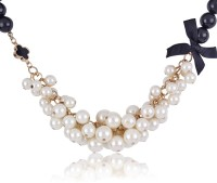 Cinderella Collection By Shining Diva Black And White Beaded Statement Alloy Necklace