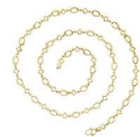 The Jewelbox Delicate Geometric Yellow Gold Plated Brass Chain