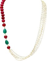 Affinity Jewellers Designer Leaf Red Taar Mala String Pearl 18K Yellow Gold Plated Alloy Necklace