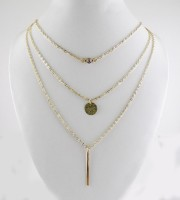 GalexiaR Triple Layered CZ Crystal Disc Vertical Bar Gold Plated Lariat Cubic Zirconia 14K Yellow Gold Plated Alloy Necklace