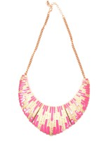 Trinklets Showstopper Pink And Gold Metal Necklace
