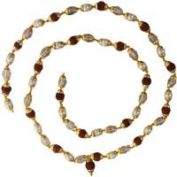 Rich & Famous Elegant Multicolor Rudraksha,Crystal,Peal Mala With Gold Cap Rudraksha Mala Alloy Necklace