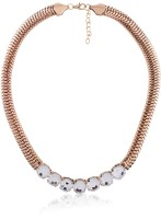 Cinderella Collection By Shining Diva Contemporary Golden Studded Statement Alloy Necklace
