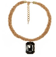 Johareez 87.00 Grams Black Glass Brass Necklace Yellow Gold Plated Brass Necklace