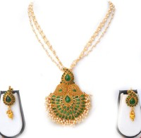 Beeline Pearl Cluster Mango Pendant Pearl Yellow Gold Plated Copper Necklace Set