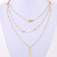 Cinderella Collection By Shining Diva Golden & White Triple Strand Alloy Necklace