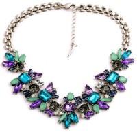"SENECIOâ""¢ Luxurious Royal Floral Bridal Collection Crystal Flower Blue Multicolor Alloy, Glass, Stone Necklace"