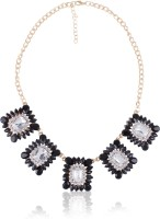 Cinderella Collection By Shining Diva Stylish Contemporary Black & Golden Statement Alloy Necklace