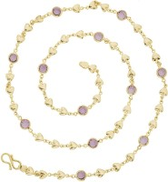 The Jewelbox Hearts Crystal Yellow Gold Plated Brass Chain