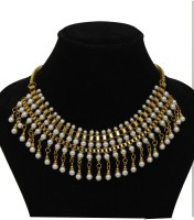 Galz4ever Metal Gold Plated Studded Pearl Pearl 10K Rose Gold Plated Metal Necklace