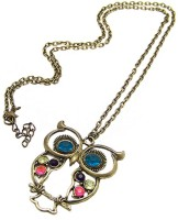 French Aura Owl Pendant Alloy Necklace
