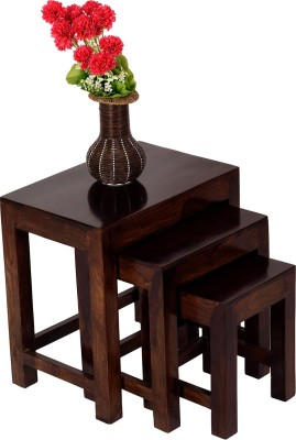 Wood Dekor Solid Wood Nesting Table (Finish Color - Brown, Set Of - 3)