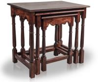 Mart N Art Solid Wood Nesting Table (Finish Color - Mahogany Finish, Set Of - 3)