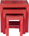 Kingscrafts Solid Wood Nesting Table (Finish Color - Orange, Set Of - 3)