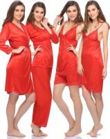 Clovia Women's Nighty With Robe, Top And Capri (1 Nighty, 1 Robe, 1 Top,1 Capri, 1 Cami & 1 Shorts)