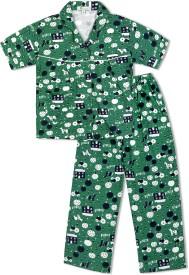 Green Apple Baby Girl's Printed Dark Green Top & Pyjama Set
