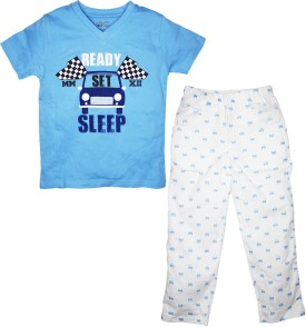 FS Mini Klub Sleepwear Boy's Printed Blue T-shirt & Three-forth Set