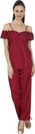 Pede Milan Women's Solid Top & Pyjama Set