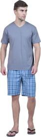Habitude Men's Solid, Checkered Grey Top & Shorts Set