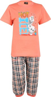 Meril Boy's Printed Orange T-shirt & Three-forth Set
