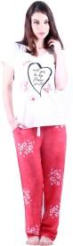 Vixenwrap Women's Printed White, Pink Top & Pyjama Set
