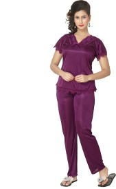 KuuKee 1222 Women's Self Design Top & Pyjama Set