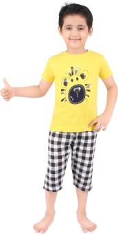 Punkster Baby Boy's Graphic Print T-shirt & Three-forth Set