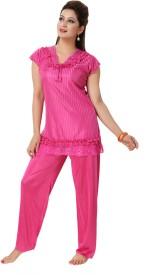 KuuKee Women's Solid Top & Pyjama Set