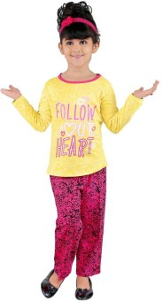 Bella & Brat Girl's Graphic Print Yellow, Pink Top & Pyjama Set